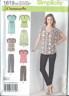 2013 Simplicity Pattern 1619 UNCUT Size U5 by Devereauxart on Etsy (Craft Supplies & Tools, Patterns & Tutorials, sewsizes16-24, plus size, sizeU5, sew topandpants, skirt, simplicity 1619, Karen Z, 16-18-20-22-24, tops, pants, dress)