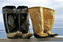 """Mukluks or Kamik are a soft boot traditionally made of reindeer skin or sealskin and were originally worn by Arctic aboriginal people, including the Inuit and Yupik.  The word """"mukluk"""" is of Yupik origin, from maklak, the bearded seal, while """"kamik"""" is an Inuit word."""