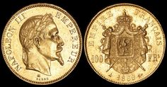 WORLD GOLD COINS - FRANCE - 1869A Napoleon III 100 Francs. KM-802.1. Minor contact mks, EF. (P) / MAD on Collections - Browse and find over 10,000 categories of collectables from around the world - antiques, stamps, coins, memorabilia, art, bottles, jewellery, furniture, medals, toys and more at madoncollections.com. Free to view - Free to Register - Visit today. #Coins #Gold #MADonCollections #MADonC French Coins, Coin Art, Napoleon Iii, Second Empire, Rare Coins, Gold Coins, Mad, Auction, Stamp