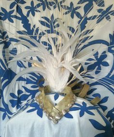 Large Back Facing Headpiece with curled lauhala by MiKineDesigns