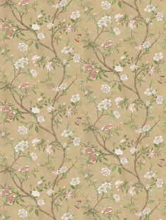 Nostell Priory Old Gold/ Green  in old gold/ green is taken from Zoffany's Woodville wallpaper collection.