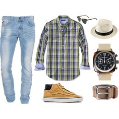 Combinação Casual com Jeans Delavê (light jeans) 2 by canalmasculino on Polyvore featuring moda, Ray-Ban, Briston, Diesel, Vans, Banana Republic and Uniqlo