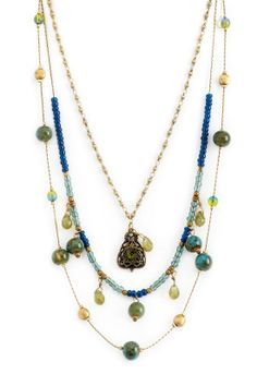 Multi Strand Blue Green Necklace - View All Jewelry - Christopher & Banks
