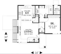 Plano de casa moderna de 1 nivel 80 m2 aproximadamente