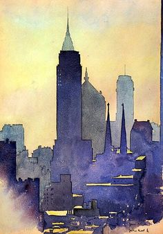 International Illustrations - Empire State Of Mind by John Held Jr. Watercolor City, Watercolor Landscape, Watercolor Paintings, Watercolors, Portrait Paintings, Acrylic Paintings, Water Color Painting Landscape, Art Paintings, Landscape Art