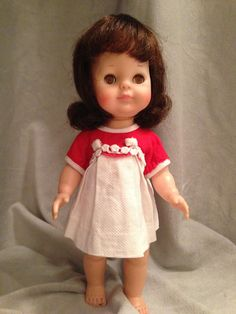 """Vintage 1964 Vogue Littlest Angel Brunette Doll Original Clothes 11"""" Collectible 
