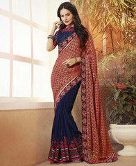 Blue & Gajjaria Color Half Crepe & Half Fancy Festival & Party Wear Sarees : Sarita Collection YF-31144