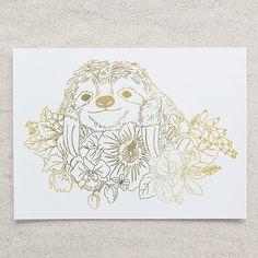 Sloth Botanical Foil Print by PlatinumJungle on Etsy $20