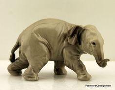 Retired Lladro Elephant Figurine #5438. Elephants Never Forget, Elephant Figurines, Collectible Figurines, Royal Doulton, Baby Elephant, Pink Flowers, Lion Sculpture, Porcelain, Statue