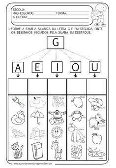 A Arte de Ensinar e Aprender: Atividade pronta - Família silábica da letra G