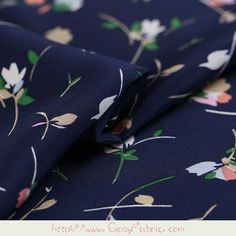 Floral Print Navy Blue 100% Pure Silk Crepe de Chine Apparel