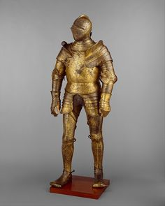 #MetKids Fun Fact:This armor was made more than 450 years ago for Henry VIII, the king of England who is most famous today for having had six wives, two of whom were beheaded. | Armor Garniture, Probably of King Henry VIII of England (reigned 1509–47), dated 1527. The Metropolitan Museum of Art, New York. Armor: Purchase, William H. Riggs Gift and Rogers Fund, 1919; mail brayette: Gift of Prince Albrecht Radziwill, 1927 (19.131.1a–r, t–w, .2a–c; 27.183.16)