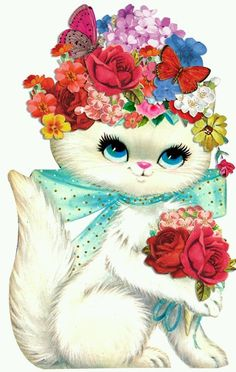 kitty with flower hat I Love Cats, Crazy Cats, Cute Cats, Gato Gif, Image Chat, Art Vintage, Vintage Floral, Cat Cards, Cat Drawing