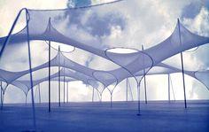 Frei Otto, le dernier Pritzker / Etude explorative sur la forme avec membranes textiles et filets