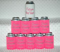 """I love te """"Future Mrs Bonner"""" cooler cup idea and cooler cups for my bridal party and everyone on the bus!"""