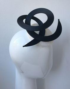 White Sinamay Headpiece with Black Swirls Spring Racing