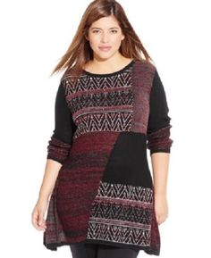 Style & Co. Womens Plus Size 3X Pattern Blocked Sweater Top Red Black NWT #StyleCo #Sweater
