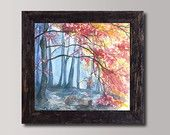 Realistic Landscape Print - Golden Autumn Watercolor Painting - Colorful Fine Art Print - High quality Wall decor - Vibrant color painting