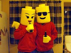 Lego Minifig Costumes - OCCASIONS AND HOLIDAYS - For Halloween this year my boyfriend and I decided we needed to do a set of costumes that went together. Pair Halloween Costumes, Native American Halloween Costume, Couple Halloween Costumes For Adults, Hallowen Costume, Costume Ideas, Cute Couples Costumes, Woman Costumes, Couple Costumes, Group Costumes