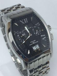 David Shano Dual Time Black Dial Swiss Quartz Men's Stainless Steel Watch (N590) #DavidShano