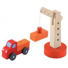 Sevi. Grúa con Camión Vehículos ideales para jugar solos o con los sets de tren de madera