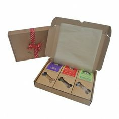 Here is a real treat for your pooch or a great gift idea for a friend's dog. The Hungry Hector Christmas Gift Pack is filled with three Hungry Hector treat packs. Each gift pack contains one Chicken & Chestnut treats, one Turkey Delight and one Herby Lamb treats. Yummy!