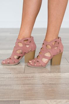 Shop our Cutout Zip Back Heels in Mauve. Perfect for spring and summer! Free shipping on all US orders!