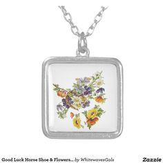 Good Luck Horse Shoe & Flowers Necklace Pendent