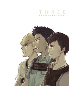 Not strictly Thomas x Minho, but I love these 3 too much to not pin!! [The Maze Runner - THREE. by tedizack.deviantart.com on @deviantART]