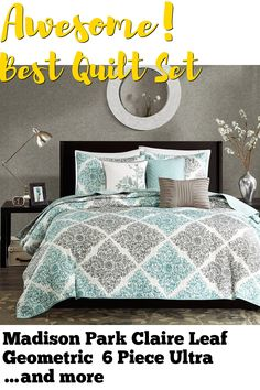 Madison Park Claire Leaf Geometric 6 Piece Ultra Soft Microfiber Bed Quilted Coverlet, King/Cal King(104'x94'), Diamond Aqua ... (This is an affiliate link) #quiltsets