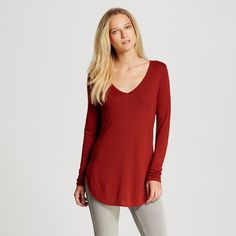 Women's Long Sleeve V-Neck Tee Dark Red Xxl - Mossimo