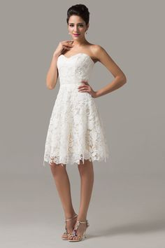 Elegance Ivory Homecoming Prom Rose Lace Gown Wedding Short Party Evening Dress #GraceKarin #BallGown #Cocktail