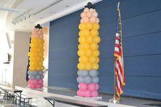 Pencil balloon columns for Back to School Balloon Backdrop, Balloon Columns, Balloon Garland, Balloon Decorations, Balloon Bouquet, Back To School Party, School Parties, School Events, School Themes