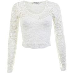 Miss Selfridge Long Sleeve Scallop Lace Crop Top ($12) ❤ liked on Polyvore featuring tops, shirts, crop tops, long sleeves, cream, long sleeve tops, lace shirt, long-sleeve shirt, long sleeve jersey shirt and long sleeve jersey