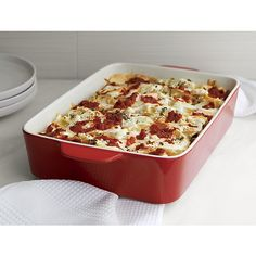 Big brother to our popular nesting Potluck Bakers, this large-scale red stoneware baker with white interior and convenient handles is the ideal size for lasagna and other family-style dishes. Sauce Recipes, Gourmet Recipes, Tiffin Lunch Box, Kitchen Items, Kitchen Things, Kitchen Supplies, Kitchen Stuff, Kitchen Tools, Serving Dishes