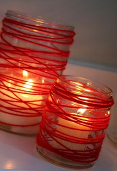 Yarn candle jars. #crafty #crafts #diy #mason_jars