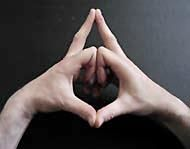 Open the Third Eye Chakra: Put your hands before the lower part of your breast. The middle fingers are straight and touch at the tops, pointing forward. The other fingers are bended and touch at the upper two phalanges. The thumbs point towards you and touch at the tops. Concentrate on the Third Eye chakra slightly above the point between the eyebrows. Chant the sound OM or AUM.