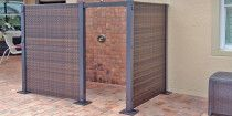 configurable wicker partition system Outdoor Privacy Screen Panels, Portable Partitions, Patio Storage, Wicker, Deck, Backyard, Home Decor, Courtyards, Patio