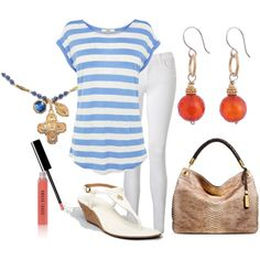 """White, Coral, Gold, Beige Outfit """"blue stripes top"""" Jewelry Andrea Barnett"""
