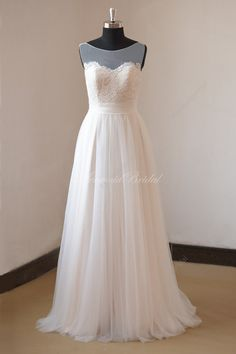 Romantic ivory nude lining A line lace tulle wedding dress with illusion neckline