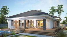 Miriam III - zdjęcie 1 Simple Bungalow House Designs, Modern Bungalow House, Bungalow House Plans, Minimal House Design, Modern Small House Design, Simple House Exterior Design, House Plans Mansion, Dream House Plans, House Architecture Styles