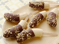 Chocolate Covered Banana Pops.    I have done this before; the frozen bananas taste like frozen yogurt/frozen pudding  They are soooo very  delicious and a healthy treat on hot summer days.