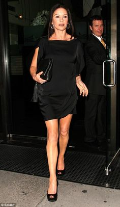 """""""Gorgeous: .. slips into a sexy silk little black dress for a romantic date night...  ...actress looked leggy in a little black silk dress"""" ..."""
