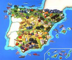 Agricultural production map of Spain Ap Spanish, Spanish Culture, Spanish Lessons, Spanish Food, How To Speak Spanish, Art Lessons, Spanish Cuisine, Spanish Teacher, Spanish Classroom