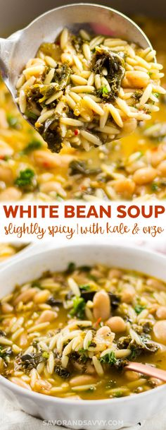 This White Bean Soup is an easy vegetarian meal for a weeknight dinner. It's a slightly spicy soup that's the perfect cold weather food!