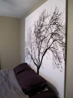 douche gordijn op hout spannen, relatief goedkoop een grote canvas!