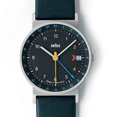 BRAUN Design - MADE IN GERMANY Wristwatch 3814 AW24 AW 24 GMT - Dial BLACK