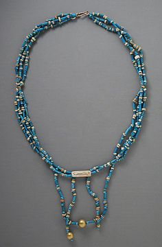 Egypt | Faience and Gold Necklace | Late Period-Ptolemaic Period, 711-30 B.C. | Blue, green, yellow, and tan faience, mother of pearl, and gold