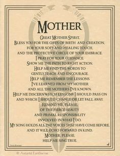 GREAT MOTHER SPIRIT - POSTER A4 SIZE Wicca Pagan Witch Goth BOOK OF SHADOWS