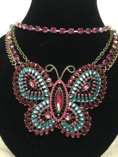 Betsey Johnson Flights of Fancy Butterfly Necklace Statement Pink Rhinestone #BetseyJohnson #Statement